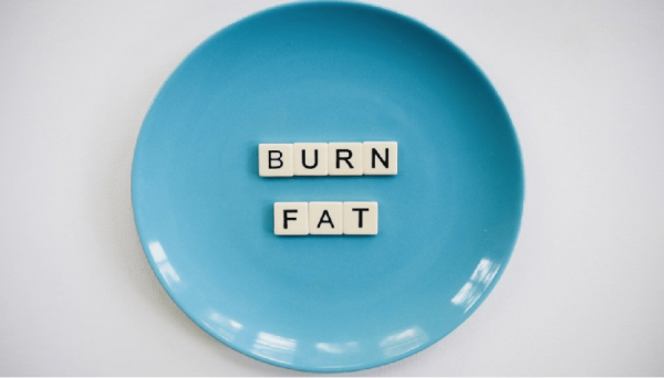 plate that says 'burn fat'