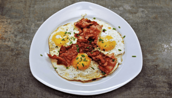 a plate with eggs with bacon