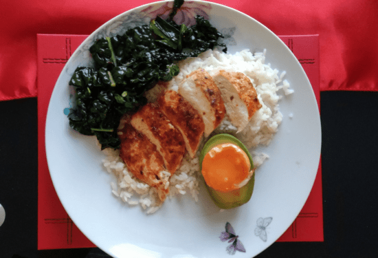 chicken with rice on plate