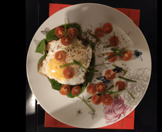 eggs and spinach on plate