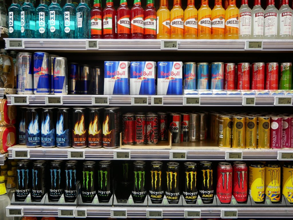 a stand with different energy drinks