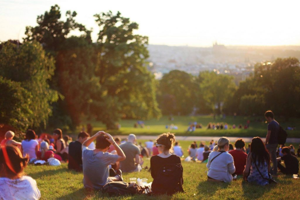 people sitting together in a park